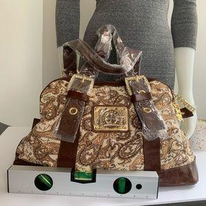 Charm and Luck Bags - Charm and Luck Brown Leather And Fabric Handbag